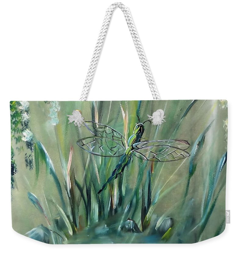 Dragonfly Weekender Tote Bag featuring the painting Dragonfly by Jessica Mason