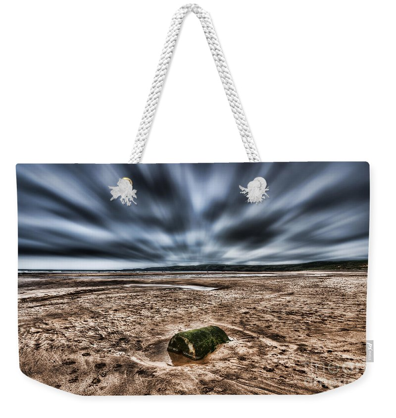 Freshwater West Weekender Tote Bag featuring the photograph Drama At Freshwater West by Steve Purnell