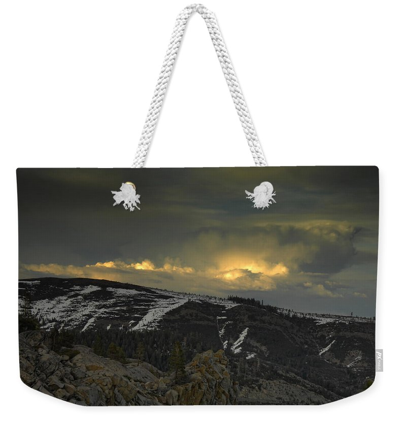 Mountains Weekender Tote Bag featuring the photograph Drama Is Coming by Donna Blackhall