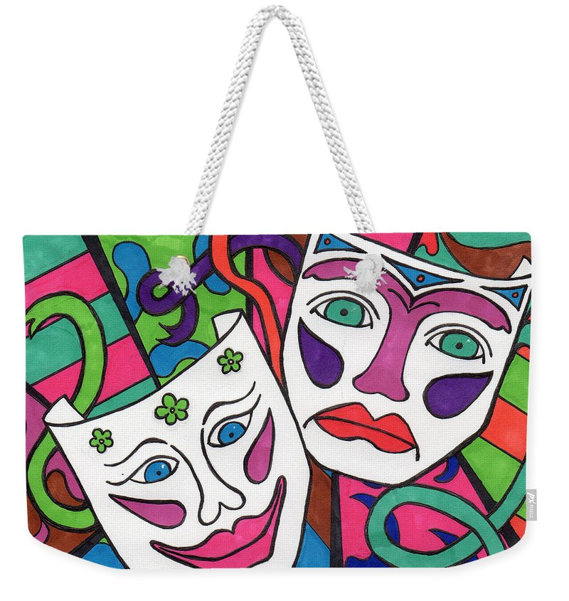 Drama Weekender Tote Bag featuring the drawing Drama Masks by Susan Cliett