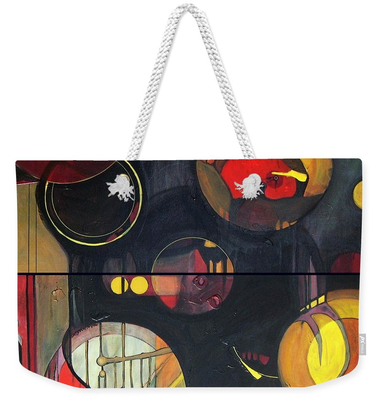 Diptych Weekender Tote Bag featuring the painting Drama Resolved 1 And 3 by Marlene Burns