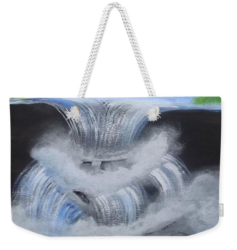 Dramatic Falls Weekender Tote Bag featuring the painting Dramatic Falls by Tracey Williams