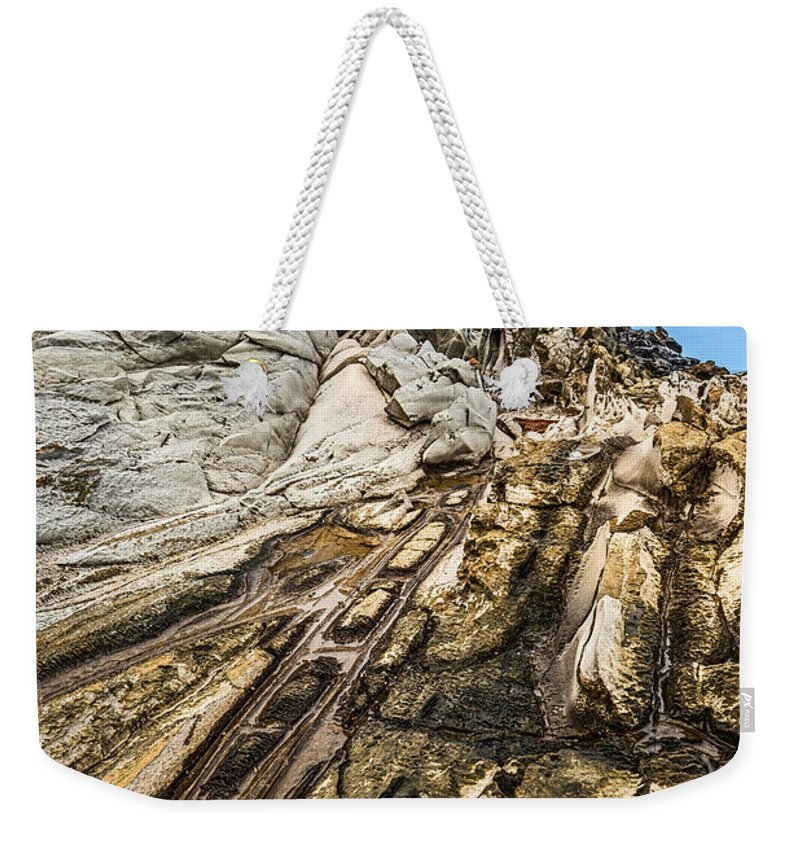 Dragons Teeth Weekender Tote Bag featuring the photograph Dramatic Lava Rock Formation Called The Dragon's Teeth In Maui. by Jamie Pham