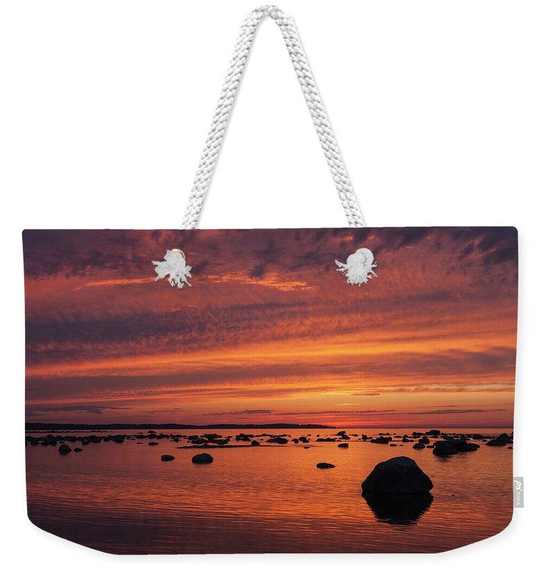 Tranquility Weekender Tote Bag featuring the photograph Dramatic Sunset Light by Franz Aberham