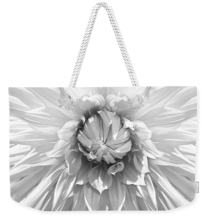 Dahlia Weekender Tote Bag featuring the photograph Dramatic White Dahlia Flower Monochrome by Jennie Marie Schell