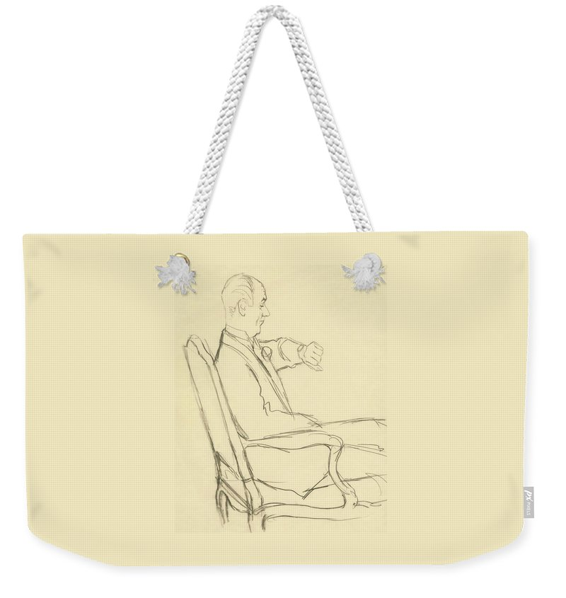 Illustration Weekender Tote Bag featuring the digital art Drawing Of Man Looking At His Watch by Carl Oscar August Erickson