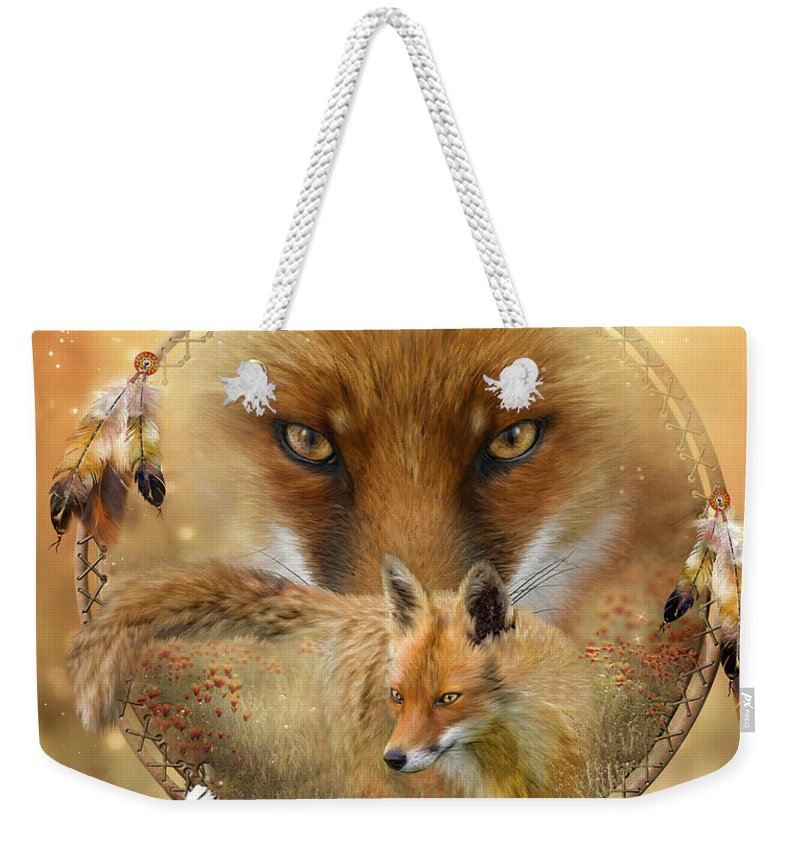Carol Cavalaris Weekender Tote Bag featuring the painting Dream Catcher- Spirit Of The Red Fox by Carol Cavalaris
