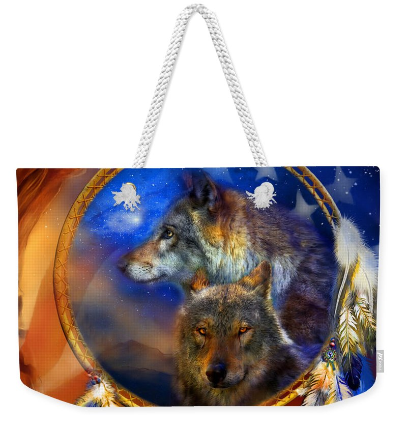Carol Cavalaris Weekender Tote Bag featuring the mixed media Dream Catcher - Wolf Dreams Patriotic by Carol Cavalaris