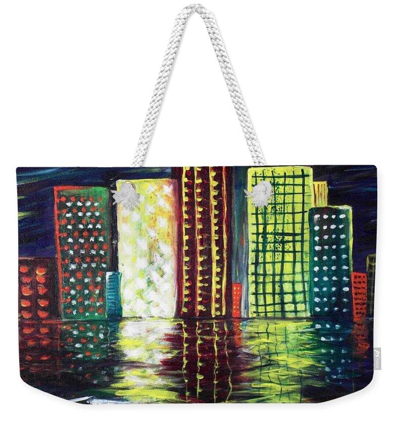 Skyline Weekender Tote Bag featuring the painting Dream City by Anastasiya Malakhova