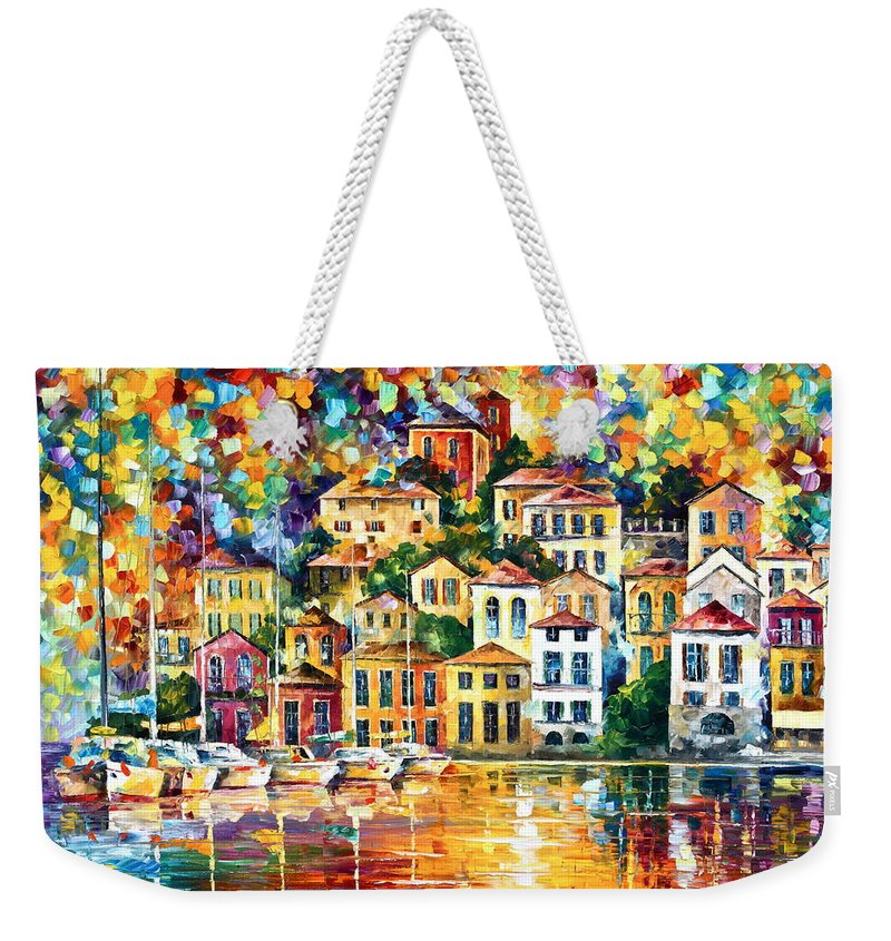 Afremov Weekender Tote Bag featuring the painting Dream Harbor by Leonid Afremov