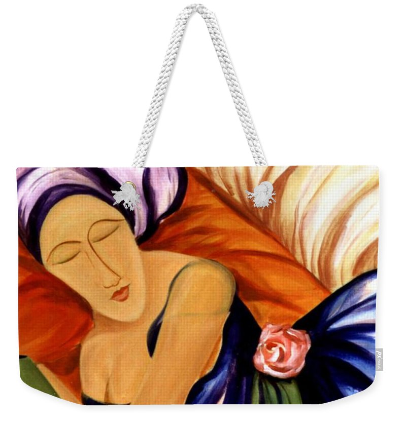 #female Weekender Tote Bag featuring the painting Dream by Jacquelinemari