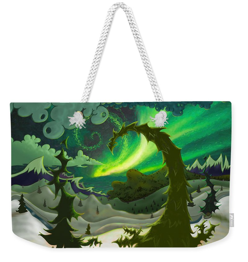 Ebenlo Weekender Tote Bag featuring the painting Dream Landscapes Aurora Green by EBENLO Artist