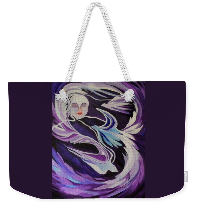 Dreams Weekender Tote Bag featuring the painting Dream On Little Soul by Carolyn LeGrand