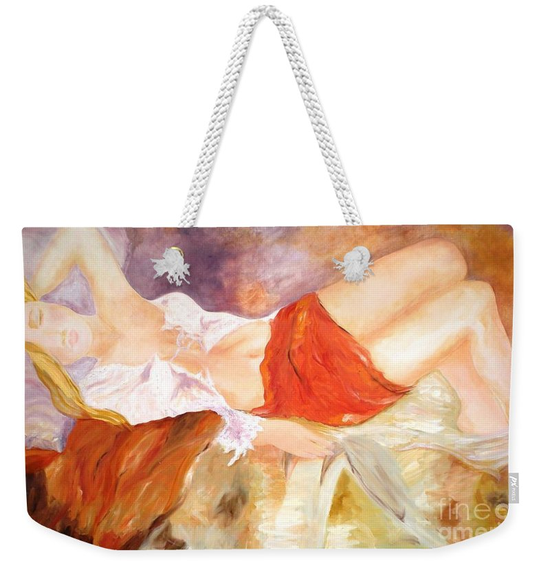 Women Sleeping Weekender Tote Bag featuring the painting Dreaming by Graciela Castro