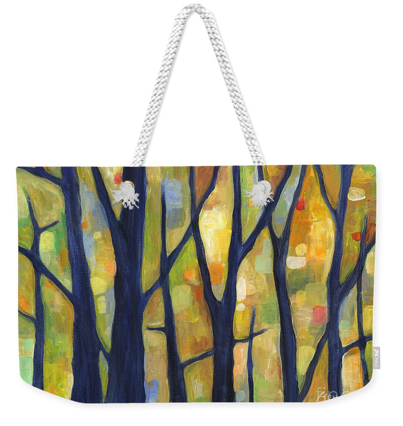 Dreaming Weekender Tote Bag featuring the painting Dreaming Trees 2 by Hailey E Herrera