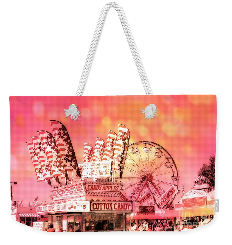 Carnival Art Photography Weekender Tote Bag featuring the photograph Surreal Hot Pink Orange Carnival Festival Cotton Candy Stand Candy Apples Ferris Wheel Art by Kathy Fornal