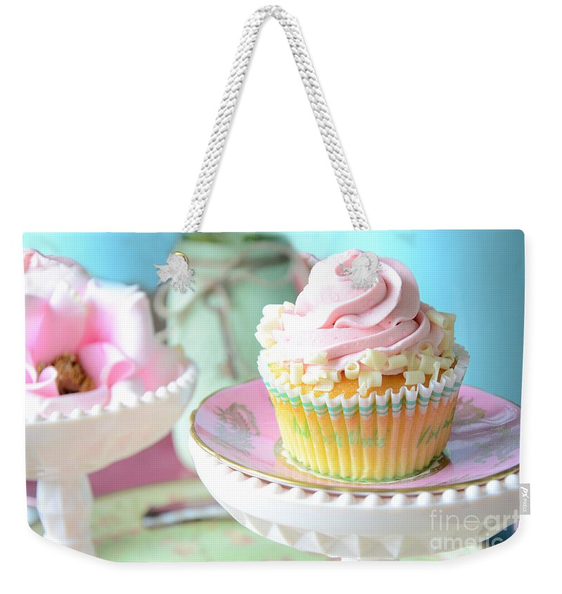 Cupcake Photos Weekender Tote Bag featuring the photograph Dreamy Shabby Chic Cupcake Vintage Romantic Food And Floral Photography - Pink Teal Aqua Blue by Kathy Fornal