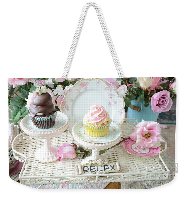 Cupcake Photos Weekender Tote Bag featuring the photograph Dreamy Shabby Chic Pink Chocolate Cupcakes Vintage Romantic Food Floral Cupcake Kitchen Art Decor by Kathy Fornal