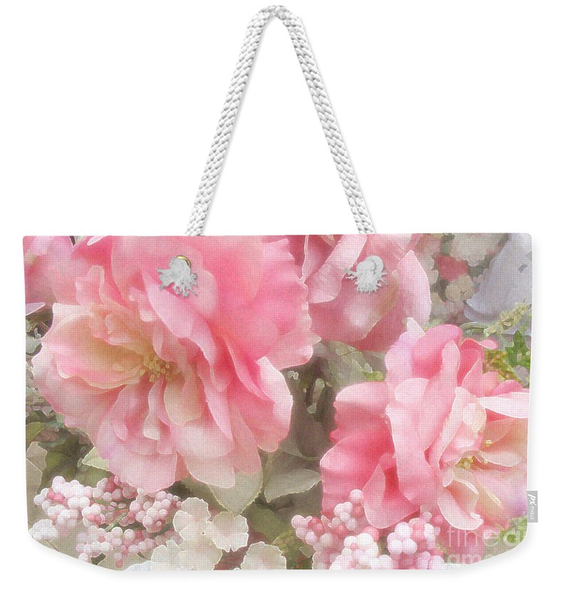 Peonies Weekender Tote Bag featuring the photograph Dreamy Pink Roses, Shabby Chic Pink Roses - Romantic Roses Peonies Floral Decor by Kathy Fornal