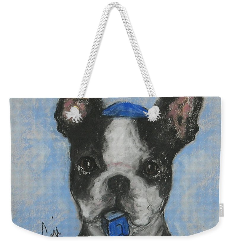 Boston Terrier Weekender Tote Bag featuring the drawing Dreideler by Cori Solomon