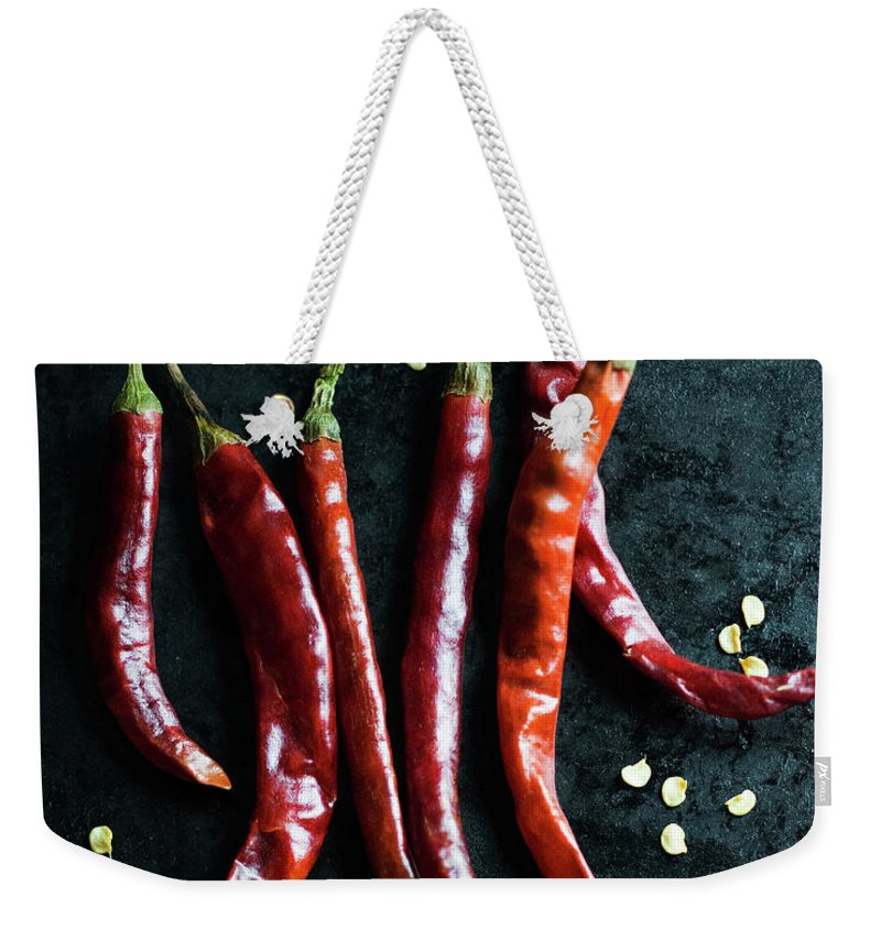 California Weekender Tote Bag featuring the photograph Dried Chilli Peppers by Jack Andersen
