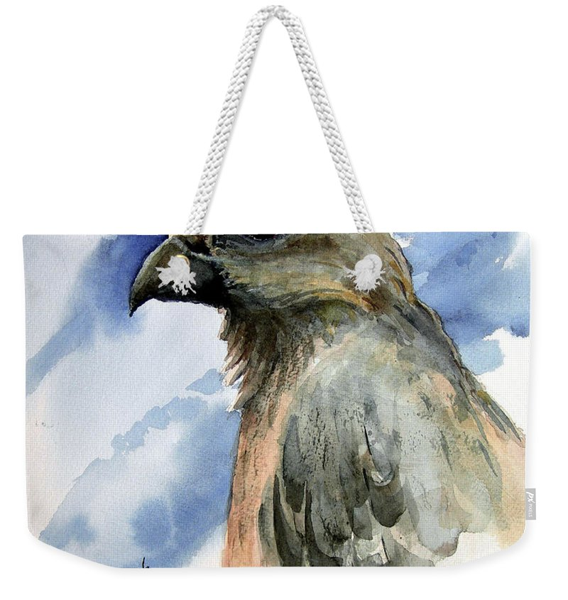 Hawk Weekender Tote Bag featuring the painting Drifter by Sam Sidders