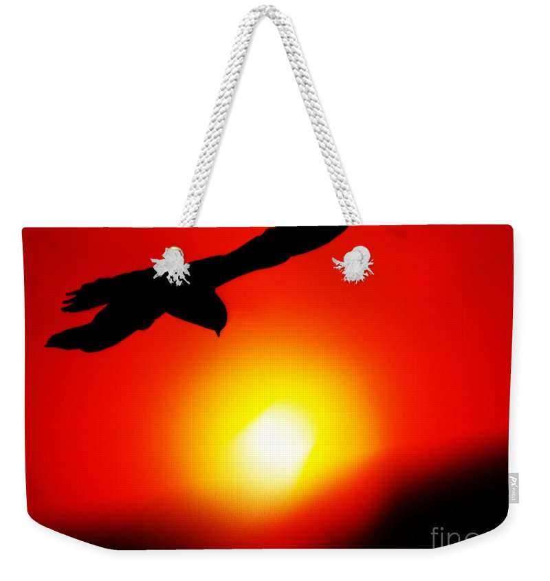 Sunset Weekender Tote Bag featuring the painting Drifting by Neil Finnemore