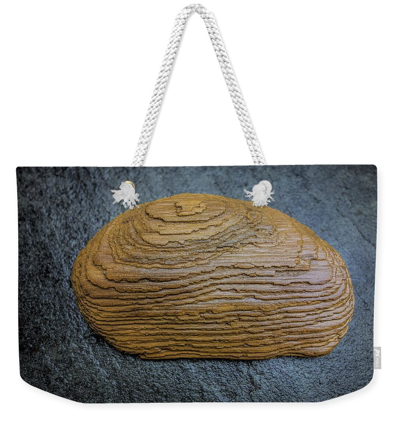 Detail Weekender Tote Bag featuring the photograph Driftwood On Slate by David Stone
