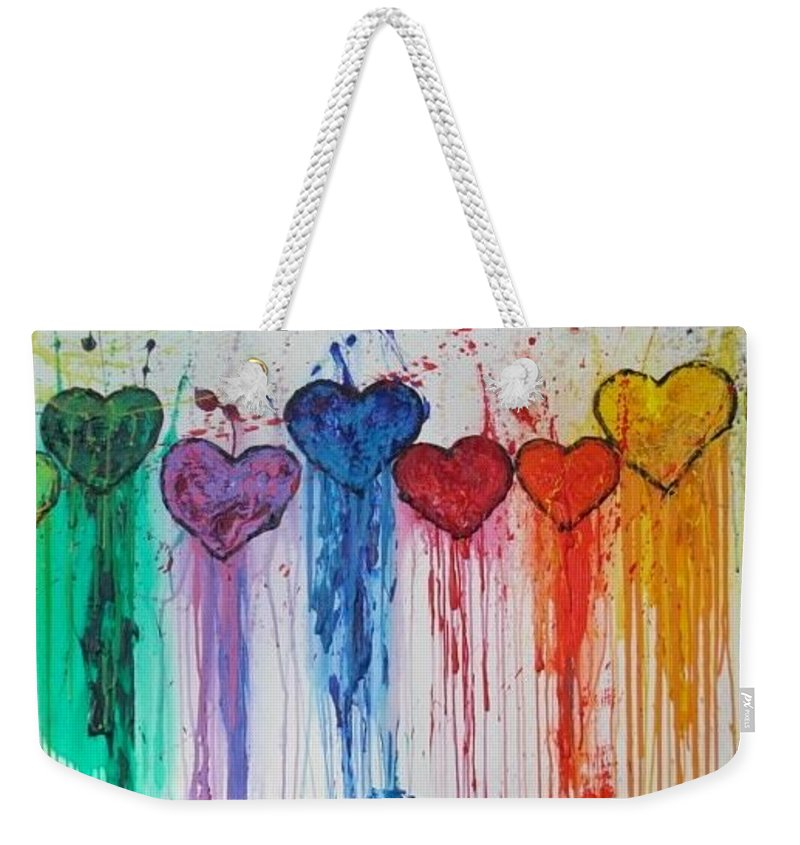 Hearts Weekender Tote Bag featuring the painting Dripping Hearts by Maria Iurescia