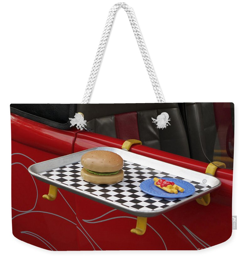 Classic Car Weekender Tote Bag featuring the photograph Drive In Recalled by Ann Horn