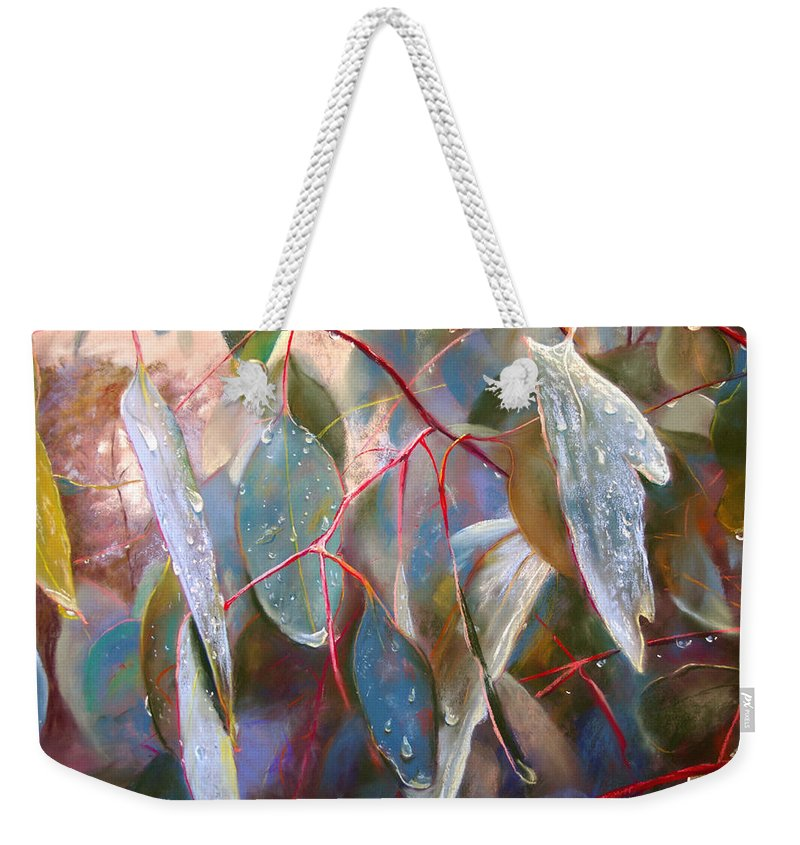 Lynda Robinson Weekender Tote Bag featuring the painting Drought Relief by Lynda Robinson