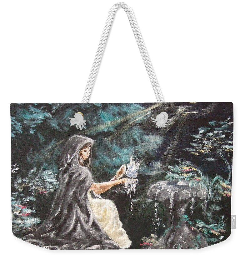 Weekender Tote Bag featuring the painting Druid's Meditation by Katerina Naumenko