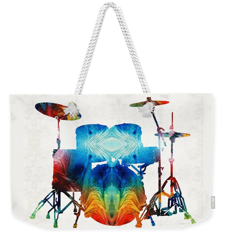Drum Weekender Tote Bag featuring the painting Drum Set Art - Color Fusion Drums - By Sharon Cummings by Sharon Cummings