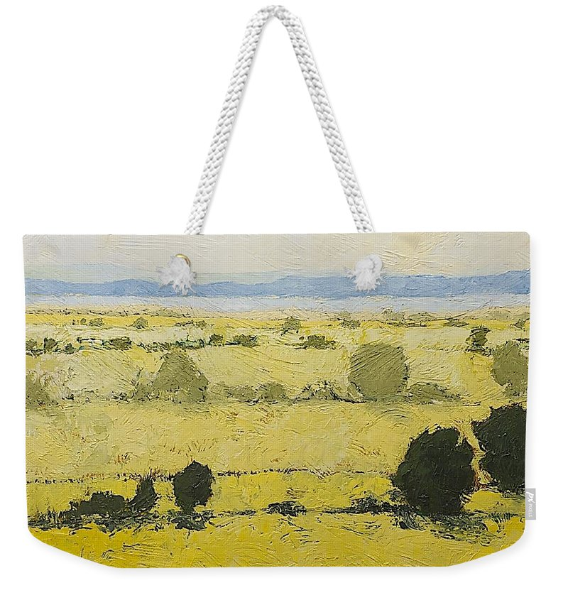 Landscape Weekender Tote Bag featuring the painting Dry Grass by Allan P Friedlander