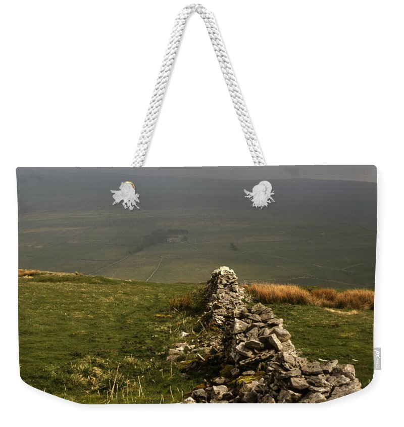 Drystone Wall Misty Kettlewell Wharfedale North Yorkshire England English Walls Limestone Upland Uplands Moor Moorlands Moorland Parks British Mist Misty [yorkshire Dales National Park] Landscape Landscapes Weekender Tote Bag featuring the photograph Drystone Wall Misty Day Kettlewell Wharfedale North Yorkshire England by Michael Walters
