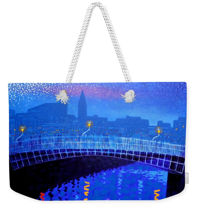 Dublin Weekender Tote Bag featuring the painting Dublin Starry Nights by John Nolan