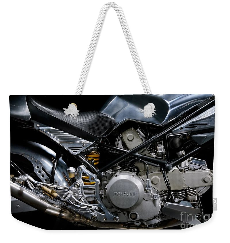 Ducati Weekender Tote Bag featuring the photograph Ducati Monster Cafe Racer Engine by Frank Kletschkus