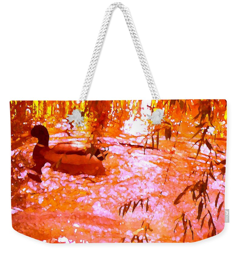 Landscapes Weekender Tote Bag featuring the painting Duck In Warm Light by Amy Vangsgard