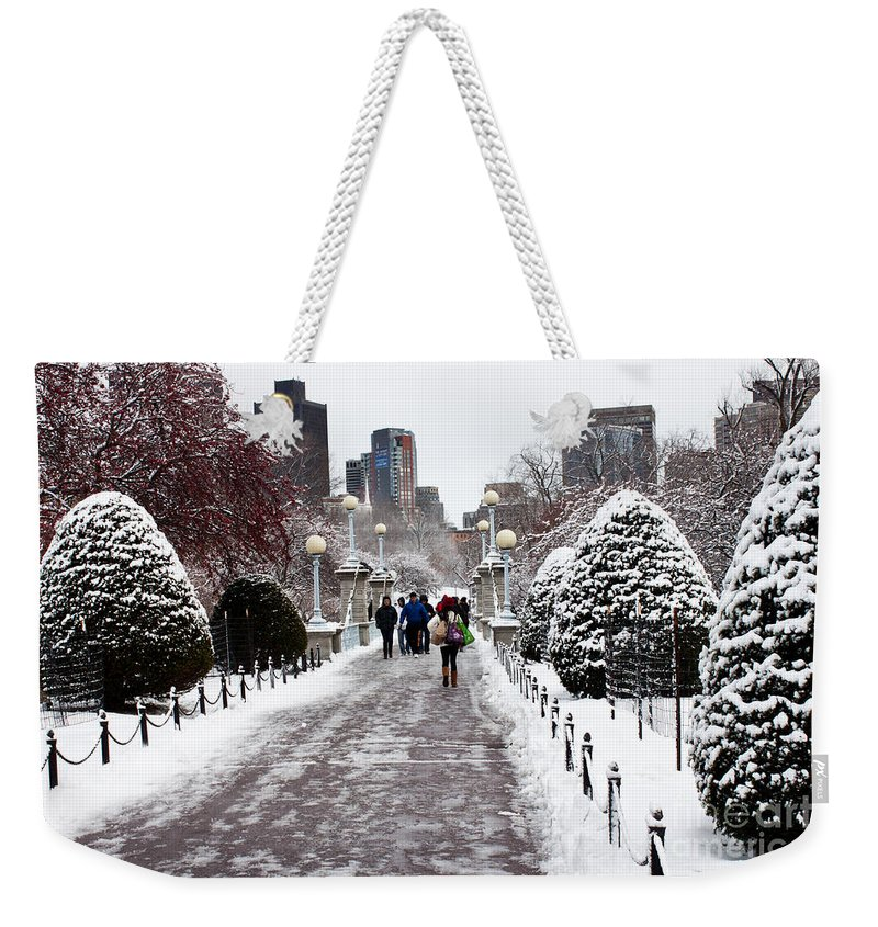 Boston Weekender Tote Bag featuring the photograph Duck Pond Bridge by Thomas Marchessault