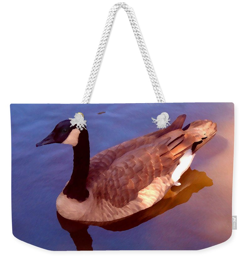 Weekender Tote Bag featuring the painting Duck Swimming by Amy Vangsgard