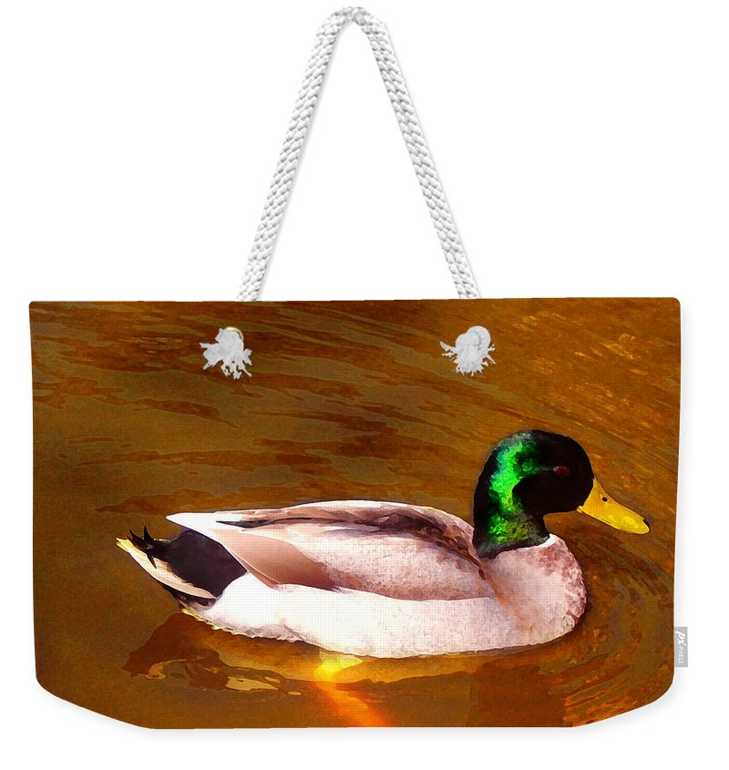 Animal Weekender Tote Bag featuring the painting Duck Swimming On Golden Pond by Amy Vangsgard
