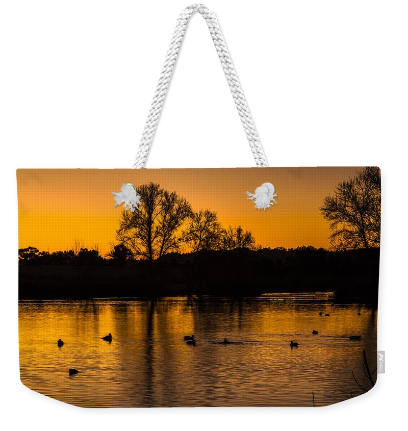 Ducks At Sunrise Photography Prints Weekender Tote Bag featuring the photograph Ducks At Sunrise On Golden Lake Nature Fine Photography Print by Jerry Cowart