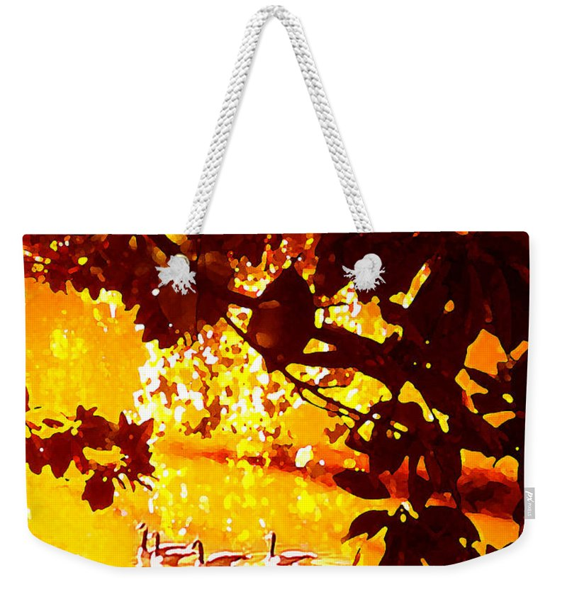Landscapes Weekender Tote Bag featuring the painting Ducks In The Disitance by Amy Vangsgard