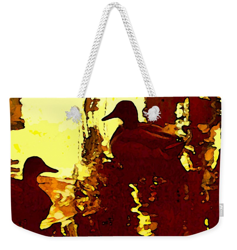 Landscape Weekender Tote Bag featuring the painting Ducks On Red Lake 3 by Amy Vangsgard