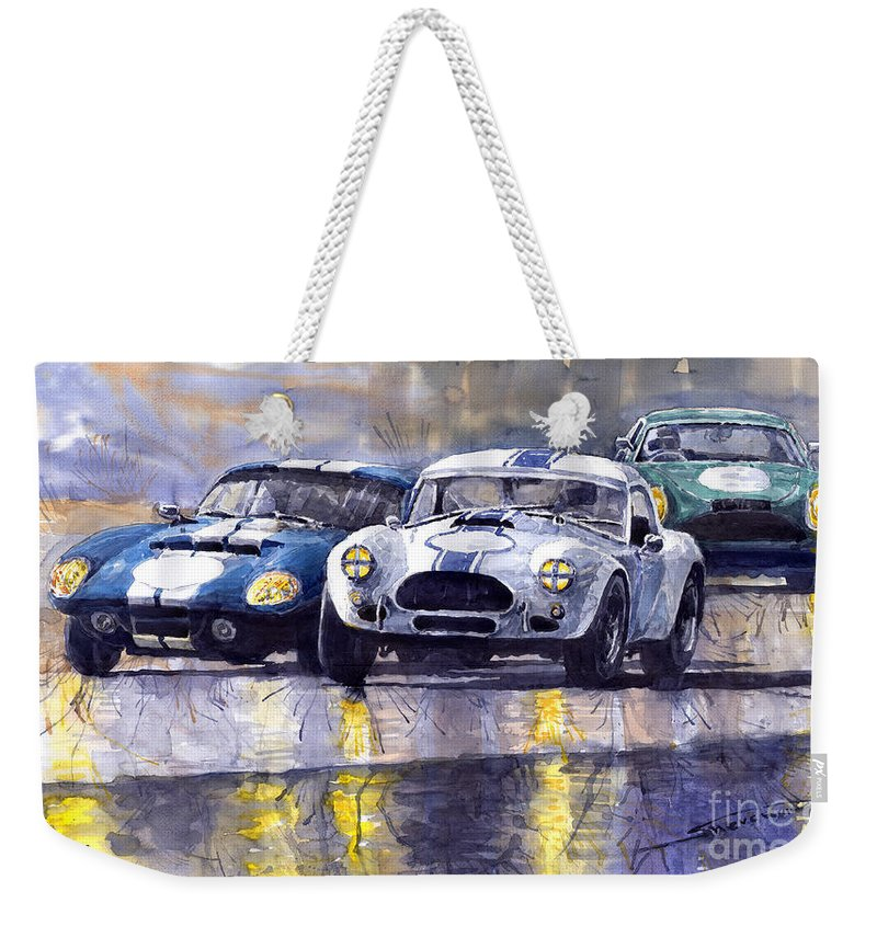 Ac Cobra Weekender Tote Bag featuring the painting Duel Ac Cobra And Shelby Daytona Coupe 1965 by Yuriy Shevchuk