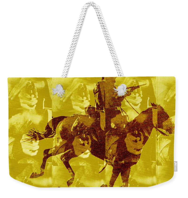 Clint Eastwood Weekender Tote Bag featuring the digital art Duel In The Saddle 1 by Seth Weaver