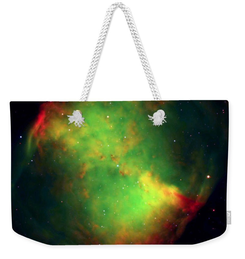 The Dumbbell Nebula — Also Known As Messier 27 Or Ngc 6853 — Is A Typical Planetary Nebula And Is Located In The Constellation Vulpecula (the Fox). The Distance Is Rather Uncertain Weekender Tote Bag featuring the photograph Dumbbell Nebula by Paul Fearn