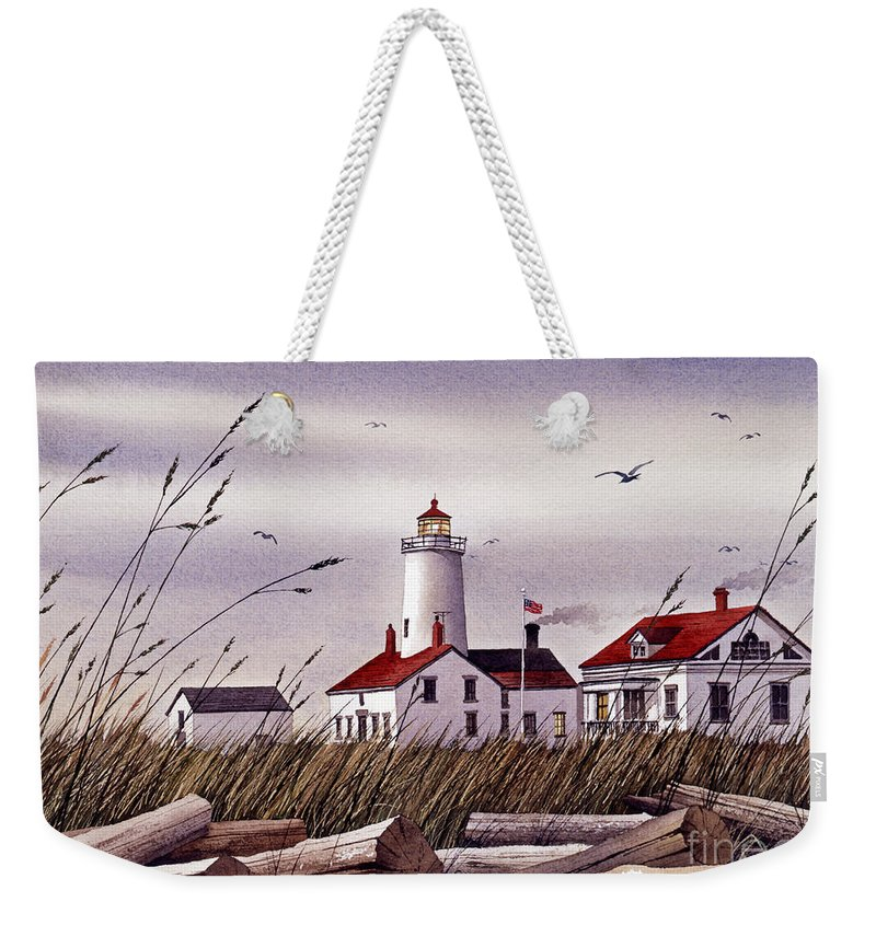 Lighthouse Fine Art Print Weekender Tote Bag featuring the painting Dungeness Lighthouse by James Williamson