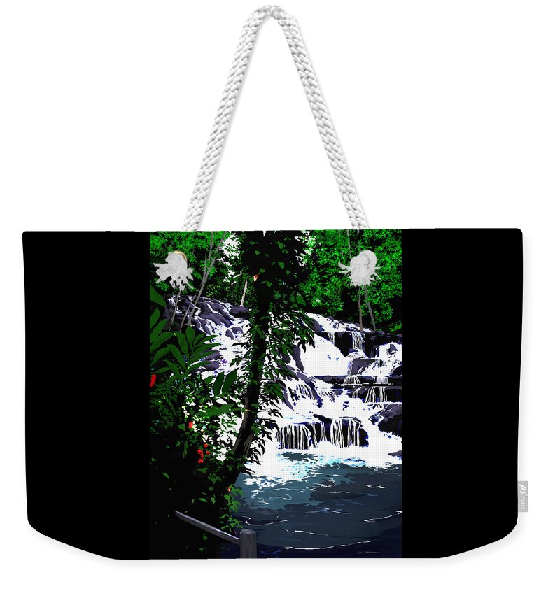 Jamaica Weekender Tote Bag featuring the painting Dunns River Falls Jamaica by MOTORVATE STUDIO Colin Tresadern