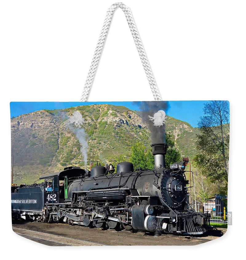 Durango Weekender Tote Bag featuring the photograph Durango To Silverton Train by Robert Meyers-Lussier
